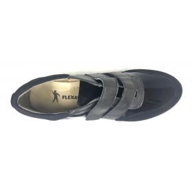 Flex&Go 58 18W9002804 Negro, Zapato deportivo de Mujer, cosido, piel, plantilla de piel acolchada y cuña de 2,5 cm