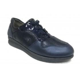 Flex&Go 59 18W90027 Marino, Zapato deportivo de Mujer, cosido, piel, plantilla de piel acolchada y cuña de 2,5 cm