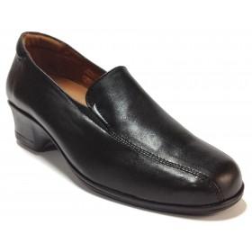 Fleximax 02 112 zapato mujer, piel napa negro, plantilla extraíble, piso de goma con cuña 3,5 cm