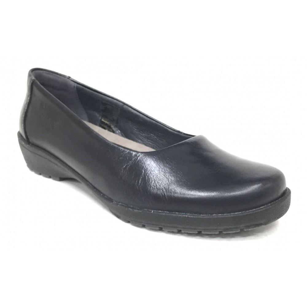 Suave 69 3032 Negro, Zapato Salón de Mujer, piel natural, piso de goma con cuña de 2,5 cm y plantilla extraíble