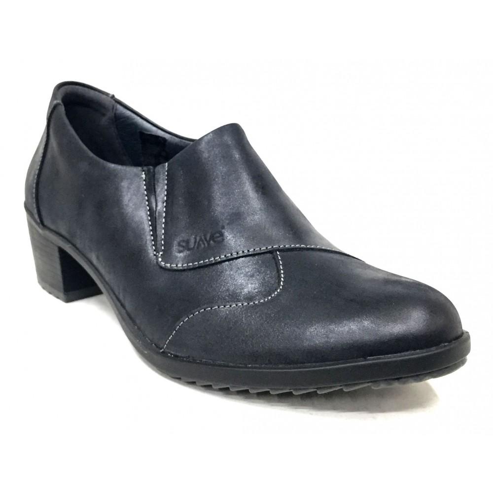 Suave 84 3306 Cinder, Negro, zapato abotinado de mujer, piel, elásticos, piso de goma con tacón de 5 cm y plantilla extraíble