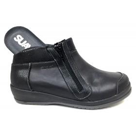 Suave 03 3116 Negro, botin de mujer, cremallera, pie diabetico, horma extra ancha, velcro, piel, piso de goma y plantillas
