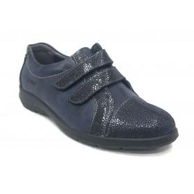 Suave 91 3509 Ultramarino, zapato mujer deportivo, marino, piel brillo, dos velcros, piso de goma 2,5 cm y plantilla extraíble