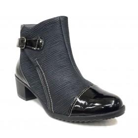 Suave 14 3319 Negro Botín de Mujer, piso goma con tacón de 5 cm, piel, charol, cremallera y plantilla extraíble