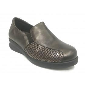Doctor Cutillas 08 54342 Marrón, Zapato de Mujer, piel, licra, elásticos, piso de goma con cuña de 3 cm y plantilla extraíble