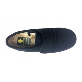 Doctor Cutillas 10274 Negro, zapatilla de mujer, textil, piso de goma cuña, velcro, adaptable a plantillas y horma muy ancha