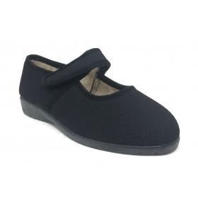 Doctor Cutillas 10278 Negro, zapatilla invierno de mujer, velcro, horma extra ancha, piso de goma y plantilla extraíble
