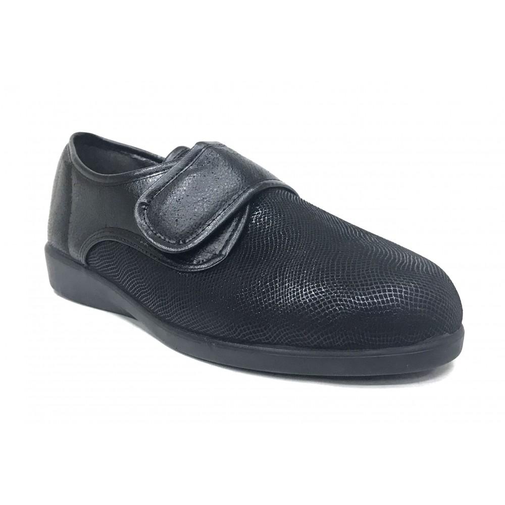Doctor Cutillas 10471 Negro Brillo, zapatilla mujer, textil, piso de goma cuña, velcro, adaptable a plantillas y horma muy ancha