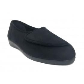 Doctor Cutillas 10275 Negro, zapatilla calle de mujer, piso de goma con cuña, paño, velcro, plantilla extraíble y horma ancha