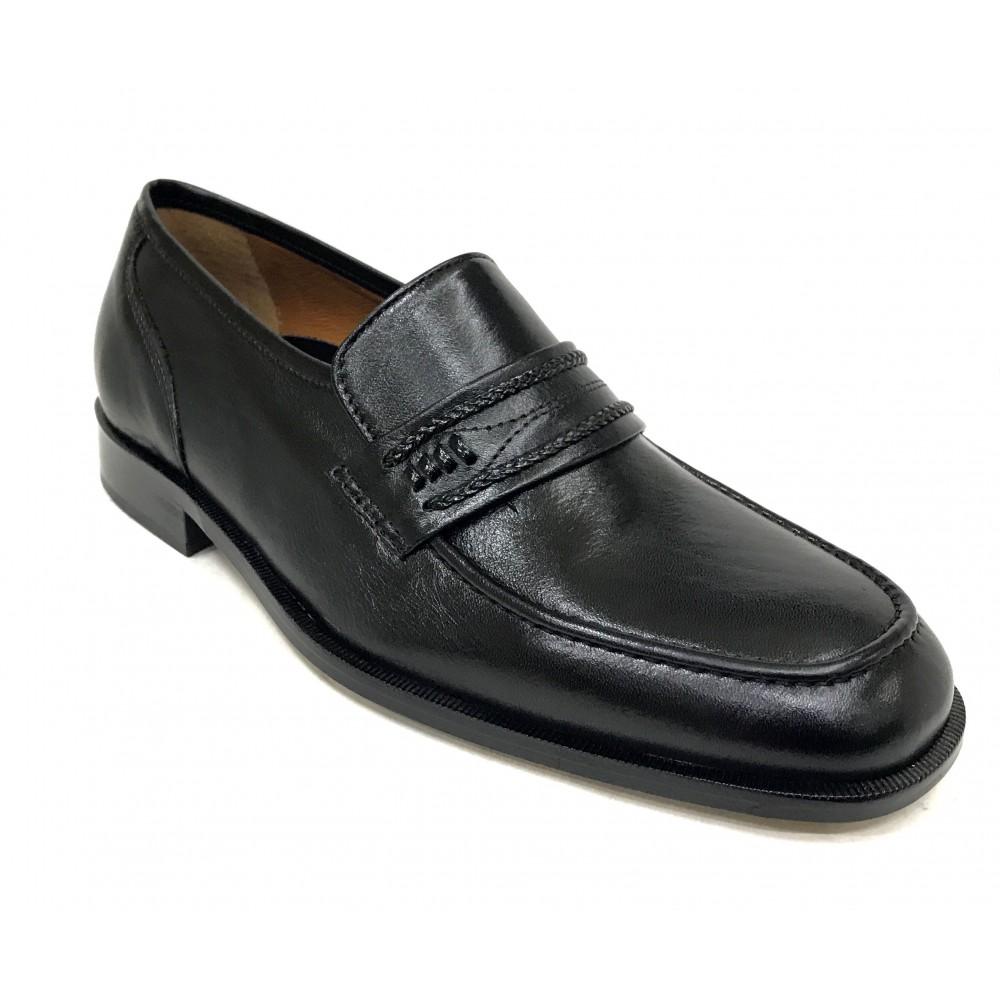 Aída Arellano 361 Negro, Milán, zapato de hombre clásico, Ancho 10, piel cabra, suela de cuero, cosido y forro piel