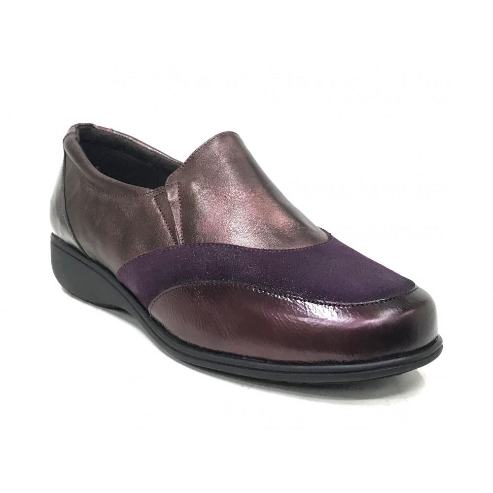 Doctor Cutillas 06 53529 Burdeos, Zapato de Mujer, piel y licra, elásticos, piso de goma con cuña y plantilla extraíble