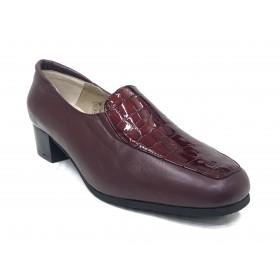 Mima-Pies 25 9002 Burdeos, Charol, Zapato de Mujer con Tacón de 4 cm, piso de goma antideslizante, forro y plantilla piel