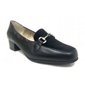 Mima-Pies 26 1101-3541 Negro, Piel ante, Zapato de Mujer con Tacón de 4 cm, piso de goma antideslizante, forro y plantilla piel