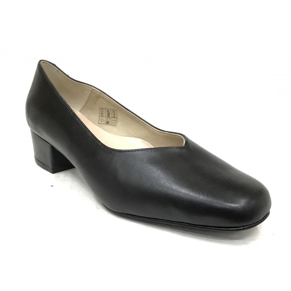 Mima-Pies 49 1705 Negro, Zapato salón de Mujer con Tacón de 4 cm, corte pico, piso de goma, forro y plantilla piel