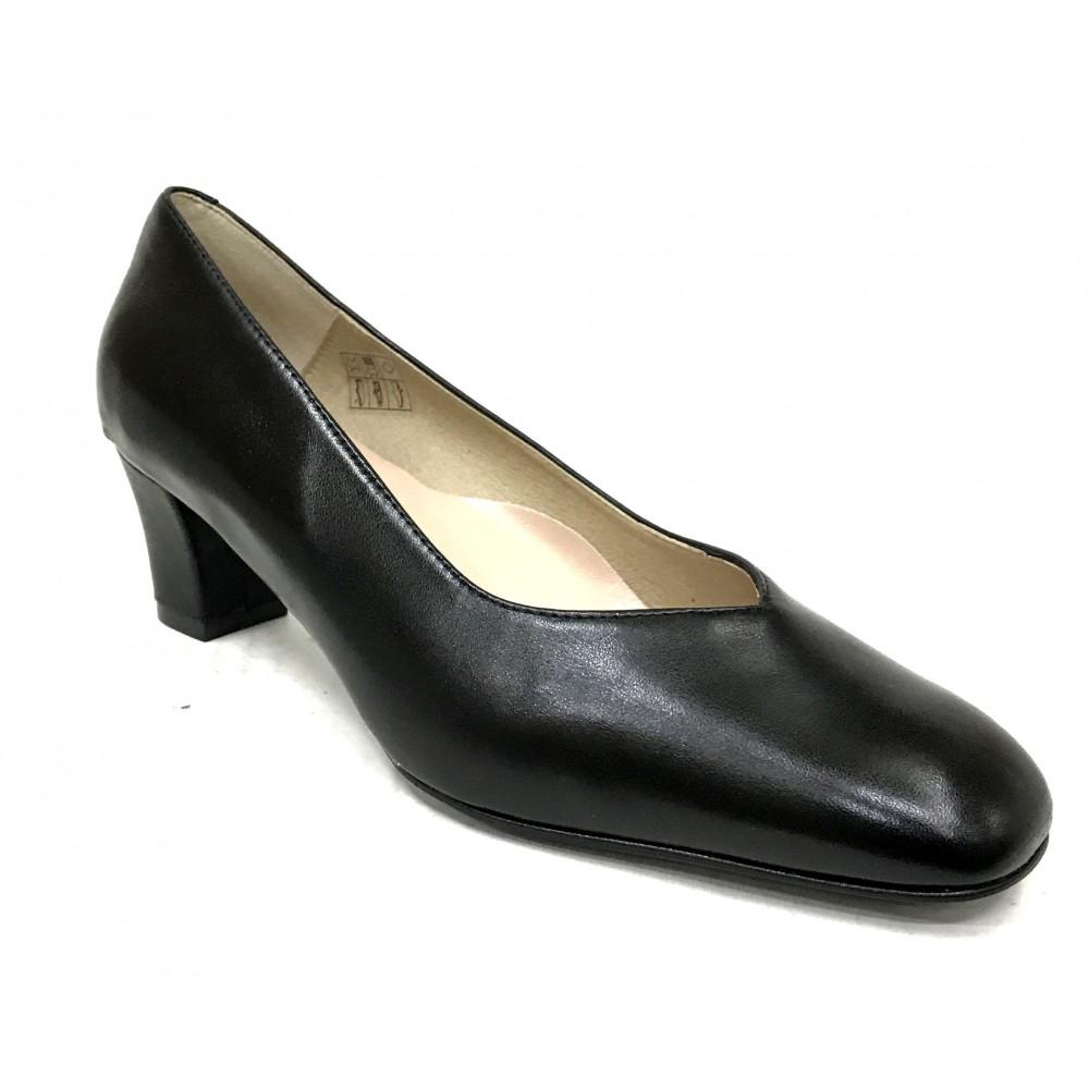 Mima-Pies 50 1705 Negro, Zapato salón de Mujer con Tacón de 5,5 cm, corte pico, piso de goma, forro y plantilla piel