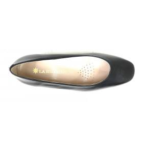 Mima-Pies 51 100 Negro, Zapato salón de Mujer con Tacón de 4 cm, corte recto, piso de goma, forro y plantilla piel