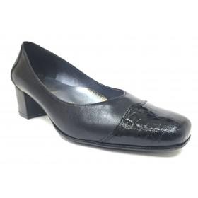 Sensipie 02 407 Negro, Zapato salón de Mujer con Tacón de 4 cm, piel y charol, piso de goma, forro y plantilla piel
