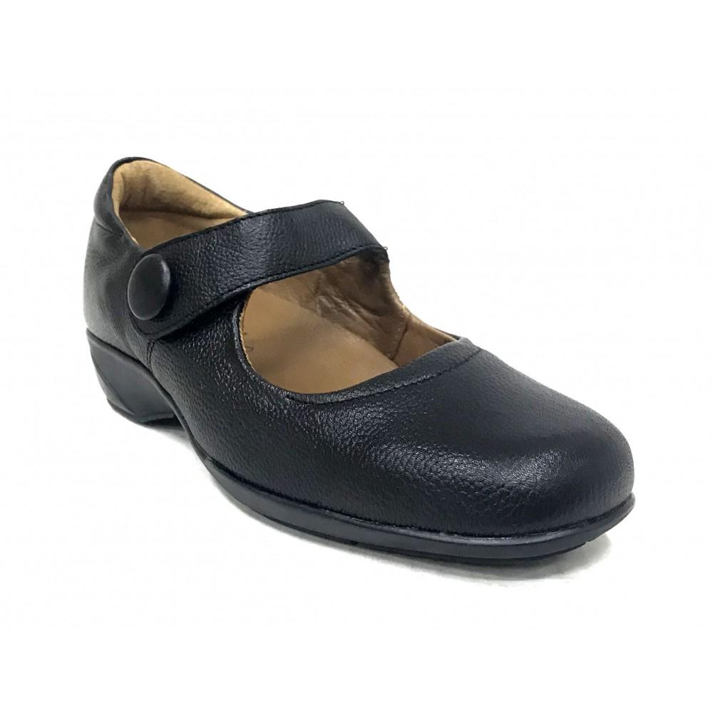 Fleximax 09 120 zapato mujer, trabajo, plantilla extraíble, negro, cuña, velcro