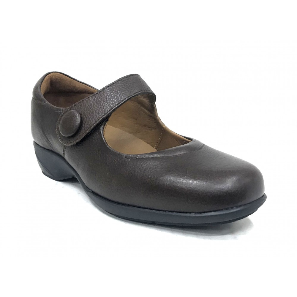 Fleximax 10 120 zapato mujer, trabajo, plantilla extraíble, marrón, cuña, velcro