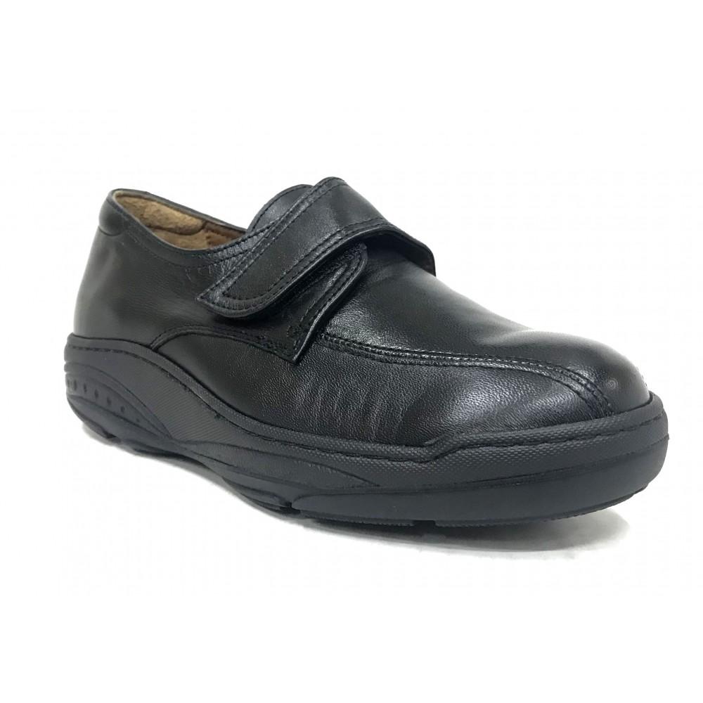 Fleximax 6114 Negro, zapato mujer, piel vacuno, plantilla extraíble, piso de balancín evolution y cierre con velcro