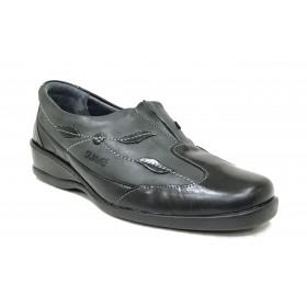 Suave 47 3558 Negro, zapato de mujer, piel y nubuck, forro piel, cuña de 2,5 cm y plantilla extraíble