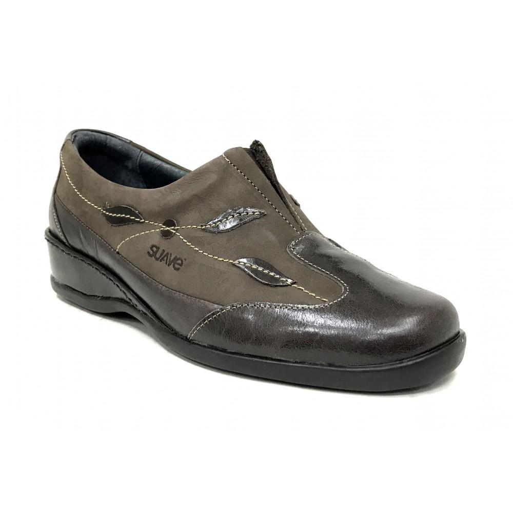 Suave 48 3558 Marrón, zapato de mujer, piel y nubuck, elástico, piso de goma con cuña y plantilla extraíble