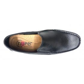 Baerchi 7901 Calima Negro Tommy, mocasín de hombre, piel natural, plantilla almohadillada, piso goma cosido