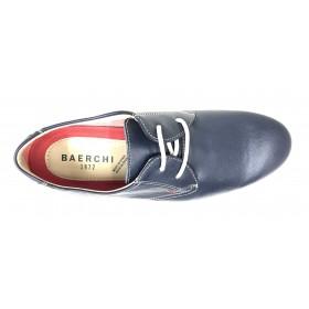 Baerchi 5415 Zapato de Hombre Marino Blanco con cordones, plantilla extraíble y piso de goma flexible