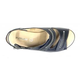 Flex&go 61 4579 sandalia mujer azul marino, piel, cierre con velcros y hebilla lateral, piso de goma con cuña 4 cm