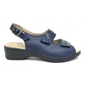 Flex&Go 61A 4579-1 Sandalia Mujer Marino, azul, piel combi charol, cierre con dos velcros y hebilla