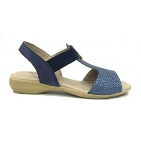 Flex&GO 73 SD0032 Marino Jeans, Sandalia de Mujer azul, piel y elásticos laterales