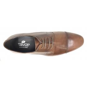 Tolino A8086 Cuero, zapato de hombre Línea Ceremonia, pespunte en la puntera, forro de piel, piso de goma y cierre con cordones
