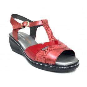 Doctor Cutillas 14 32106 Rojo, Sandalia de Mujer, piel y charol, forro piel, hebilla lateral y piso poliuretano con cuña de 5 cm