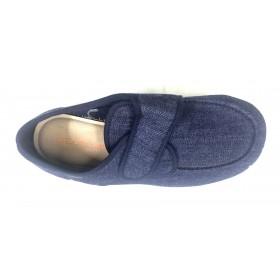 Doctor Cutillas 1431 Azul Vaquero,  Zapatilla de Hombre, Horma Ancha con velcro, piso de goma y plantilla extraíble