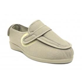 Doctor Cutillas 10187 beig tostado zapatilla unisex, horma extra ancha, velcros, piso de goma antideslizante