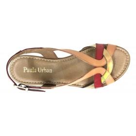 Paula Urban 20 27-92 Combi Rojo, Sandalia de Mujer, piel, coral y dorado, plantilla acolchada, cuña de 3,5 cm y hebilla
