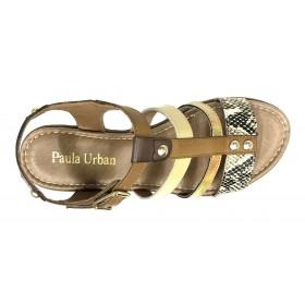 Paula Urban 22 27-31 Combi Arena, Sandalia de Mujer, piel, beig, plantilla acolchada, cuña de 3,5 cm y hebilla