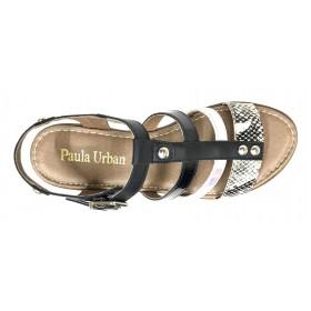 Paula Urban 23 27-31 Combi Negro, Sandalia de Mujer, piel, blanco, plantilla acolchada, cuña de 3,5 cm y hebilla
