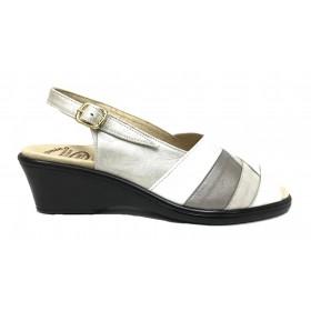 HRAMIS 56 1170 Blanco y metalizado, piel, sandalia anatómica de mujer, piso de poliuretano con cuña de 5 cm y plantilla arco