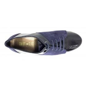 Comfort Class 04 8140 Azul Marino, Zapato Mujer, piso de goma flexible, cuña de 4 cm, piel, cordones y plantilla extraíble