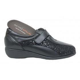 Doctor Cutillas 09A 53421 Negro, Zapato de Mujer, deportivo, piel, licra, velcro, cuña 2,5 cm y plantilla extraíble