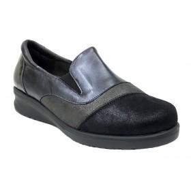 Doctor Cutillas 11 54348 Negro, Zapato de Mujer, piel, licra, elásticos, piso de goma con cuña de 3 cm y plantilla extraíble