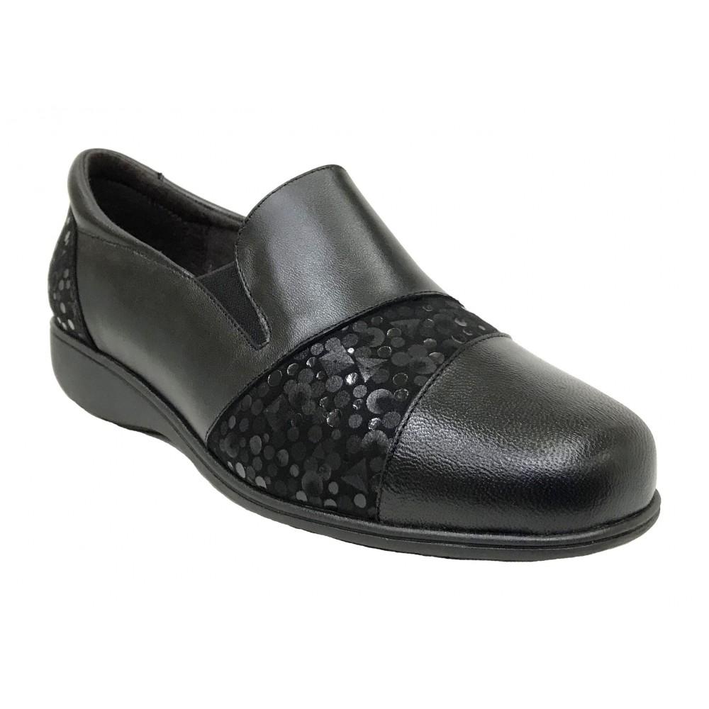 Doctor Cutillas 13 53440 Negro, zapato de mujer, piel y licra, elástico, piso de goma cuña 2,5 cm y plantilla extraíble