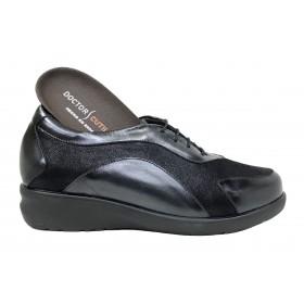 Doctor Cutillas 15 54351 Negro, Zapato de Mujer, deportivo, piel, licra, cordones, cuña 3 cm y plantilla extraíble