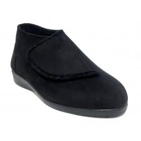 Doctor Cutillas 10276 Negro, zapatilla calle de mujer, piso de goma con cuña, bota, velcro, plantilla extraíble y horma ancha