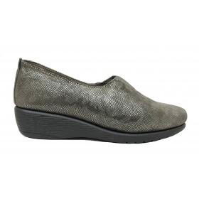 Flex&Go 55B ST0183 Taupe, gris Brillo, Mocasín de Mujer Básico, cosido, piel suave, con plantilla de piel y cuña de 3,5 cm