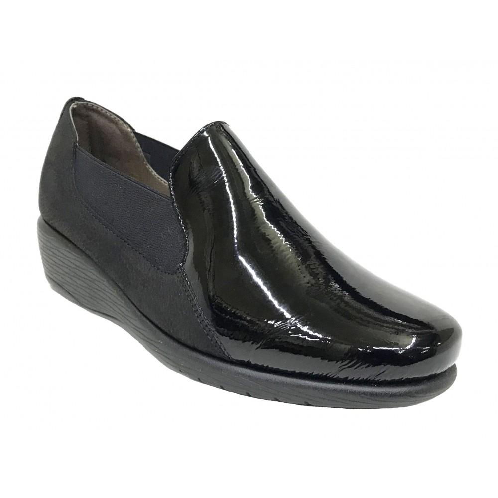 Flex&Go 56A ST0232 Negro charol, Mocasín de Mujer Básico, cosido, piel suave, con plantilla de piel acolchada y cuña de 3,5 cm
