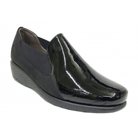 Flex&Go 56A ST0232 Negro Charol Mocasín Mujer