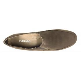 Flex&go 61 ST0182 Marrón, Mocasín de mujer, Taupe, piel nubuck, cosido, cuña de 4 cm, anatomico y flexible