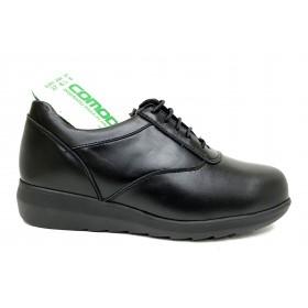 Pinoso's 13 7675-H Negro, Zapato Mujer Pie Diabético, piel napa, plantilla extraíble y cordones